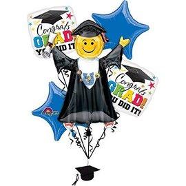 Foil Balloon Bouquet - Congrats Grad, You Did It - 5 Balloons - 6ft