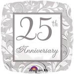 """Foil Balloon - Silver Scroll 25th Anniversary - 18"""""""