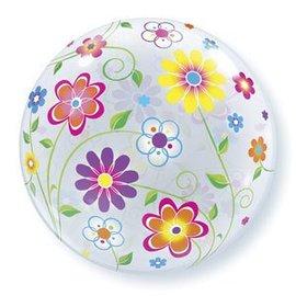 "Plastic Bubble Balloon-Spring Flowers-1pkg-22"""