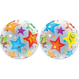 Plastic Bubble Balloon-Brilliant Stars-1pkg-22""