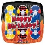 "Foil Balloon - Happy Birthday Skateboards - 18"""