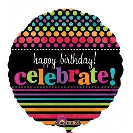 "Foil Balloon - Happy Birthday! Celebrate! - 18"""