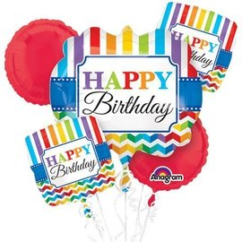 Foil Balloon Bouquet - Colorful Happy Birthday - 5 Balloons - 2.1ft
