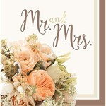 Napkins-LN-Rose Gold Bouquet-Mr & Mrs-16pk-2ply- Discontinued