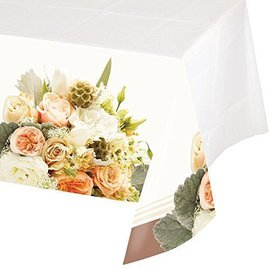 Table Cover-Rose Gold Bouquet-Plastic-54''x102'' - Discontinued