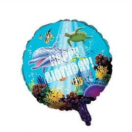 Foil Balloon - Ocean Party Happy Birthday - 18""
