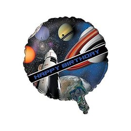 "Foil Balloon - Space Blast Happy Birthday - 18"""