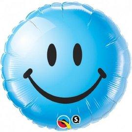 """Foil Balloon - Blue Smiley Face - 18"""""""
