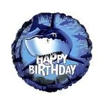 "Foil Balloon - Shark Splash Happy Birthday - 18"""