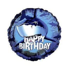 Foil Balloon - Shark Splash Happy Birthday - 18""