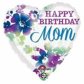 "Foil Balloon - Floral Happy Birthday Mom - 18"""