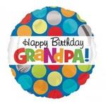 "Foil Balloon - Happy Birthday Grandpa Polka Dots - 18"""