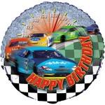 "Foil Balloon - Racing Car Happy Birthday - 18"""