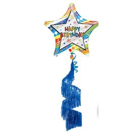 Foil Balloon - Airwalker -Happy Birthday Wavy Patterns - 70""