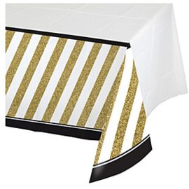 Table Cover-Black&Gold-Plastic-54''x102'' - Discontinued