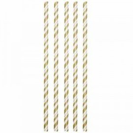Straws-Paper-Flexible Gold/White-6''-24pk