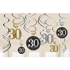 Swirl Decor-Sparkling 30 Bday Celebration-12pk