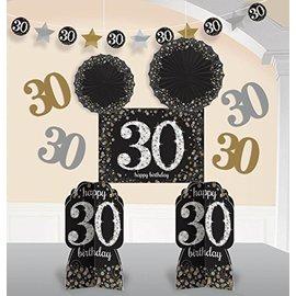 Room Decor Kit-Sparkling 30 Bday Celebration-10pk