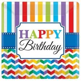 Plates-DN-Bright Happy Birthday-8pkg-Paper - Discontinued