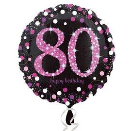 "Foil Balloon - Pink 80th Birthday Sparkle - 18"""