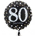"Foil Balloon - 80th Birthday Sparkle - 18"""
