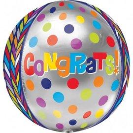 """Foil Balloon Orbz - Colorful Congrats - 15""""x16"""""""