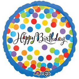 """Foil Balloon - Colorful Happy Birthday Dots - 18"""""""