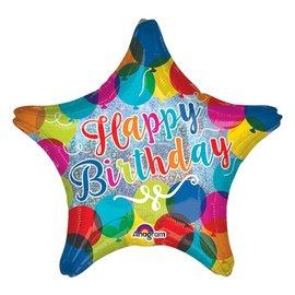 "Foil Balloon - Happy Birthday Star - 19"""