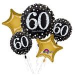"Foil Balloons-""60th"" Birthday Bouquet-Sparkling-5pk"