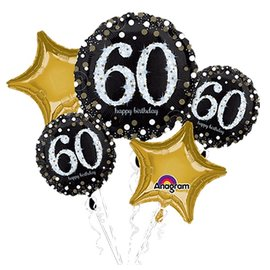 "Foil Balloons-5pc Bouquet-Sparkling ""60th"" Birthday"
