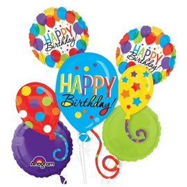 Foil Balloon Bouquet - Colorful Happy Birthday - 5 Balloons - 2.8ft