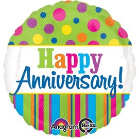 Foil Balloon - Colorful Happy Anniversary - 18""