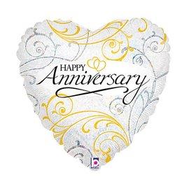 "Foil Balloon - Happy Anniversary Heart - 18"""