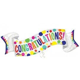 """Foil Balloon - Congratulations Banner - 40""""x19"""""""