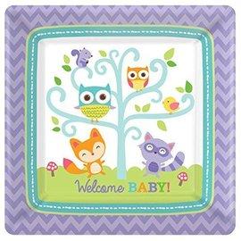 "Plates-BEV-Square- Woodland Welcome - 8pk- 7"""