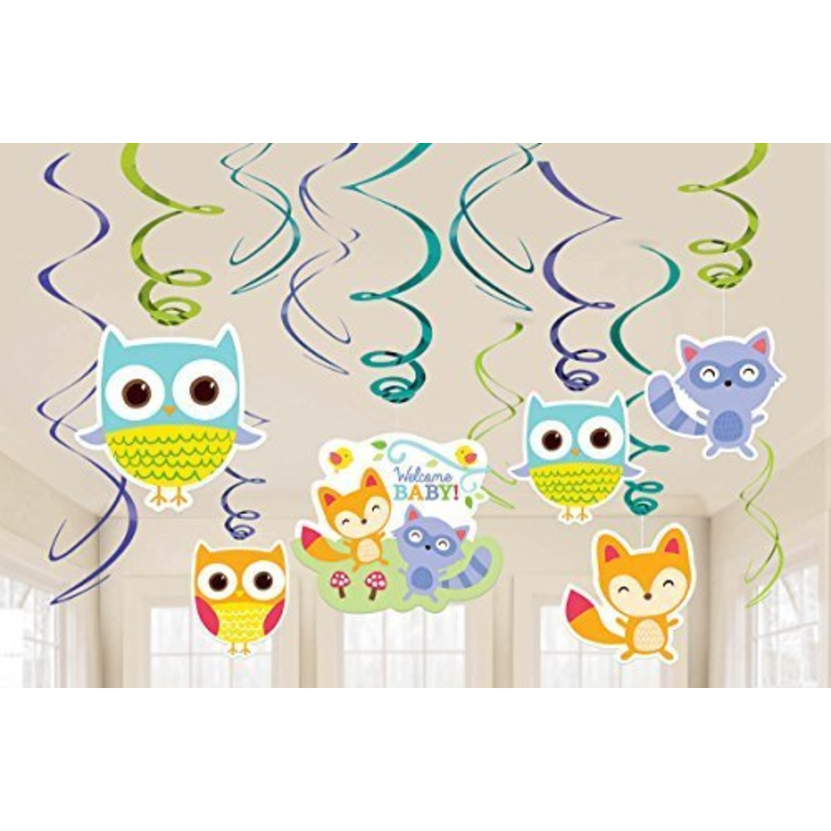 Baby Shower - Swirl Decorations - Woodland Welcome - 12pcs