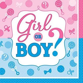 Beverage Napkins-Baby Shower-Gender Reveal-16pk-2ply