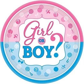 Beverage Paper Plate - Baby Shower- Gender Reveal - 8pk-7""