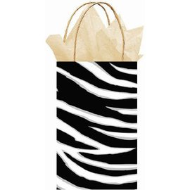 "Gift Bag - Small - Black Zebra Stripe Pattern - Print - 8.5"""