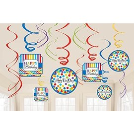 Happy Birthday - Swirl Decoration - Multicolour - 12pcs