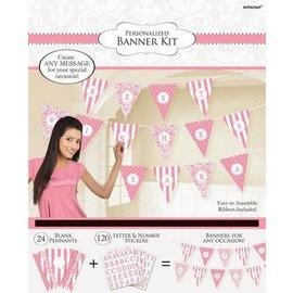 Banner - Panant Damask Dots New Pink Personalized
