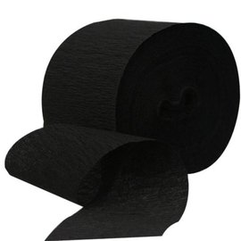 Paper Crepe Streamers - Jumbo - Jet Black - 500ft x 1.75''