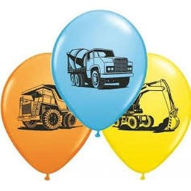 "Latex Balloons - Construction Trucks Assorted - 11"""