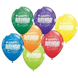 Latex Balloons - Birthday Loops & Stars - 11""