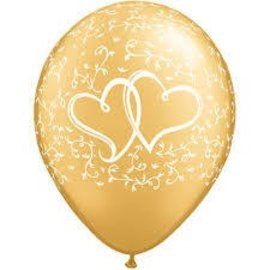 Latex Balloons - Entwined Hearts - Gold - 11""