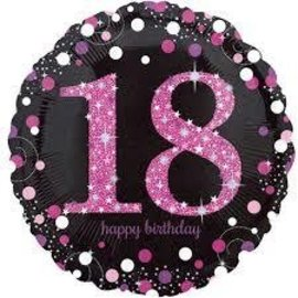 Foil Balloon - Happy Birthday 18 Pink Sparkle - 18""