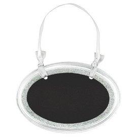 Chalkboard-Mini Oval Silver Glitter Sign