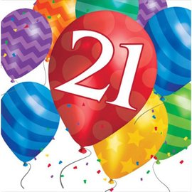 Napkins-LN-21 Birthday Balloon-16pk - 2ply - Discontinued