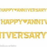 Happy Anniversary Letter Banner 6 ft (Gold)