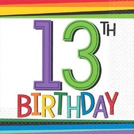 Napkins-Bev-13th Rainbow Birthday-16pk-2ply - Discontinued
